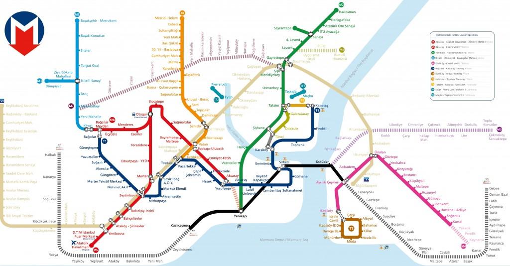 Carte des transports en commun à Istanbul