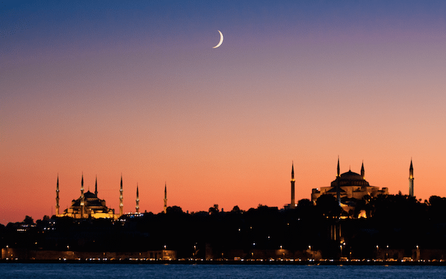 The Blue Mosque and the Hagia Sophia at sunset
