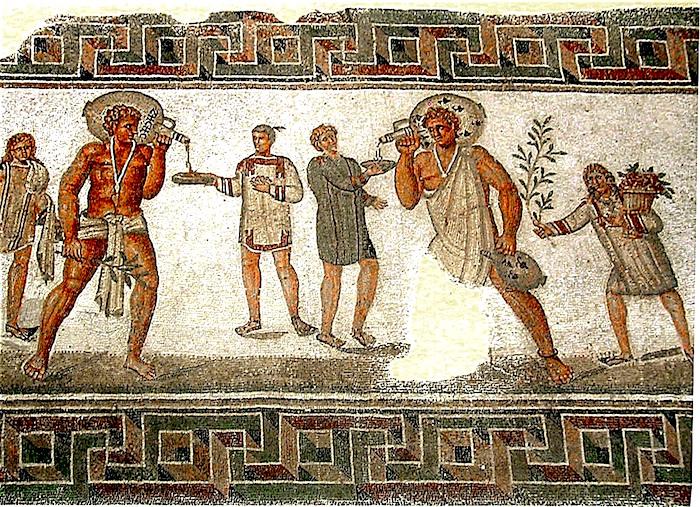 Mosaïque byzantine sur le vin