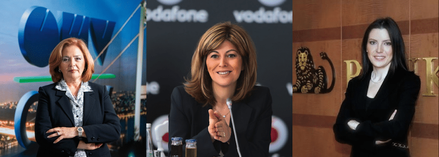From left to right: Gülsüm Azari CEO of OMV, Serpil Timuray CEO of Vodafone Turkey and Pınar Abay CEO of ING Turkey