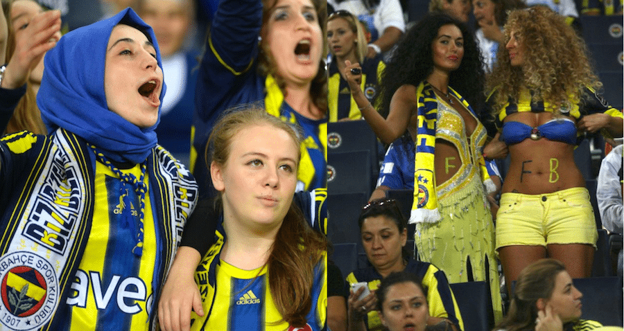 Même stade différents styles, les supportrices de Fenerbahce