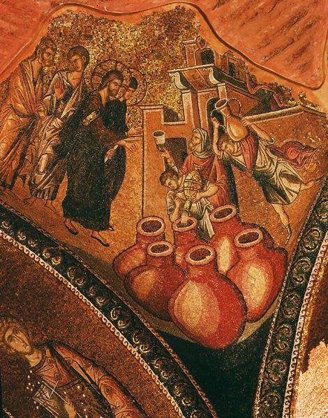 Transformation de l'eau en vin lors du mariage à Cana, représenté dans une mosaïque du XIVe siècle à l'église Saint-Sauveur-in-Chora à Istanbul.